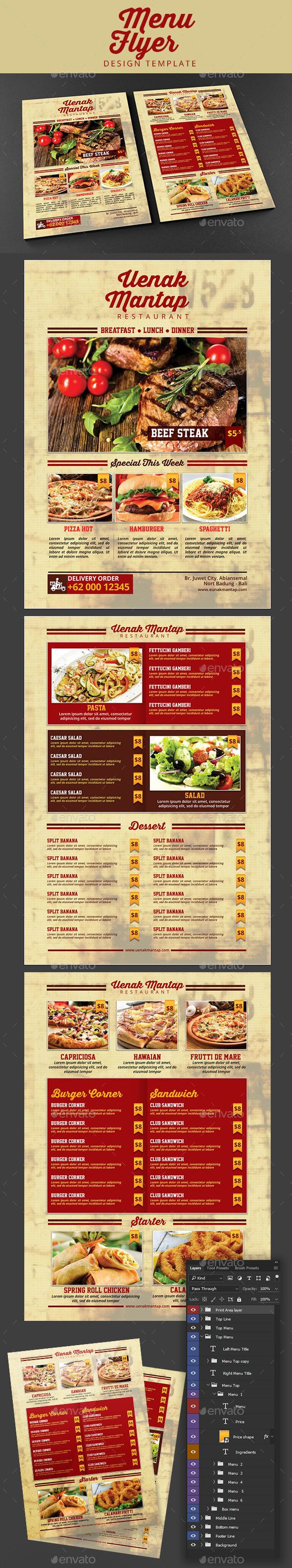 Restaurant Menu Flyer | Pinterest | Flyer template, Brochures and ...