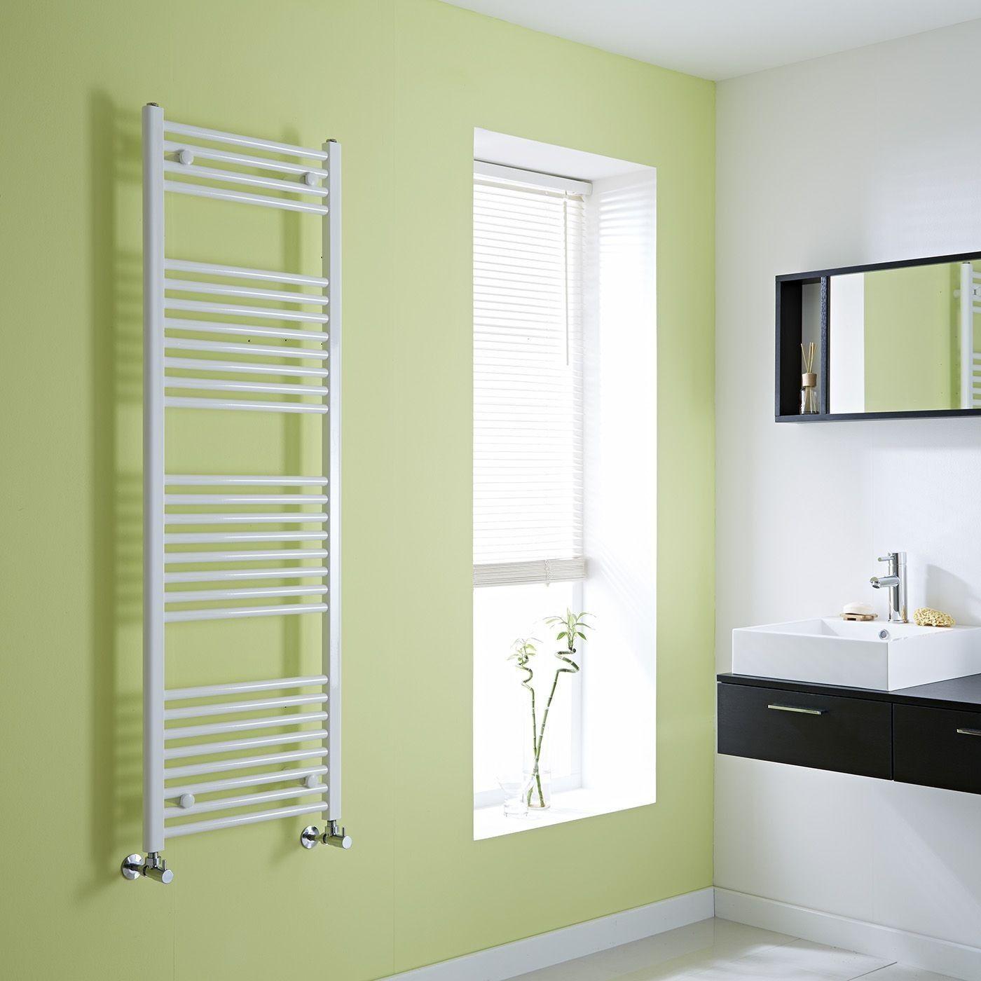 Milano Calder  Flat White Heated Towel Rail 1500Mm X 500Mm Beauteous Designer Heated Towel Rails For Bathrooms Decorating Inspiration