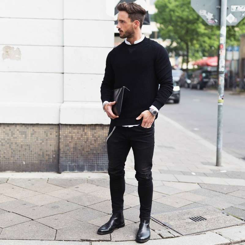 mens shoes with jeans and black shirt