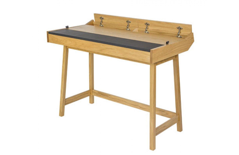 Scriber Designer Desk In Leather And Oak 108 Cm Woodman  # Muebles Woodman