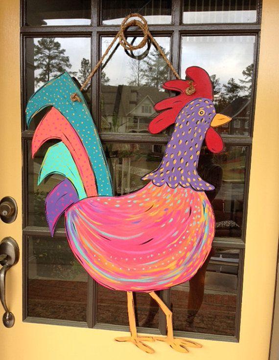 Wooden Rooster Decoration Door Hanger