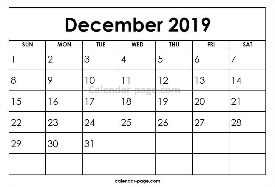 December 2019 Printable Calendar Template Blank Calendar