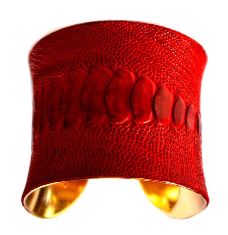 Ostrich Blood Red Leather Cuff Bracelet