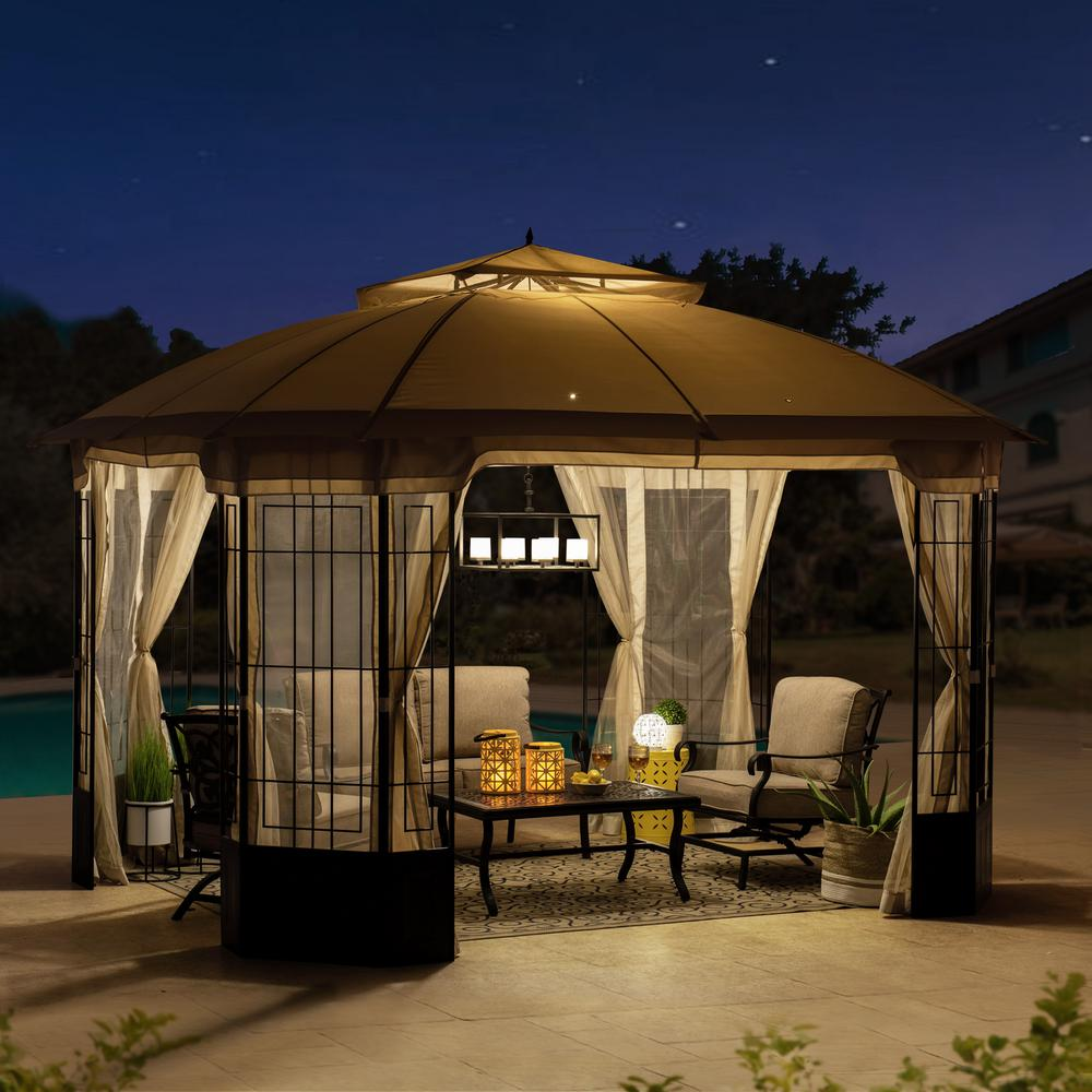 Sunjoy Harlem 10 Ft X 12 Ft Steel Gazebo With Beige Canopy A101012500 The Home Depot In 2020 Steel Gazebo Gazebo Gazebo Canopy