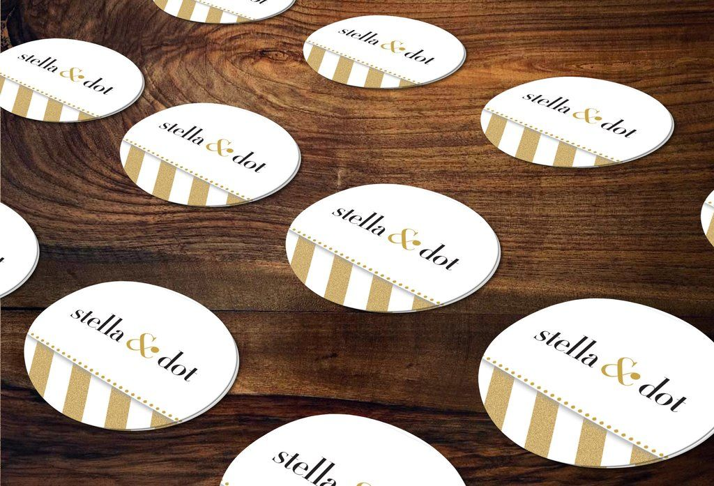 Stella dot round stickers envelope seals independent consultant business marketing sd gold dots stickersd gold glitter stripes sticker