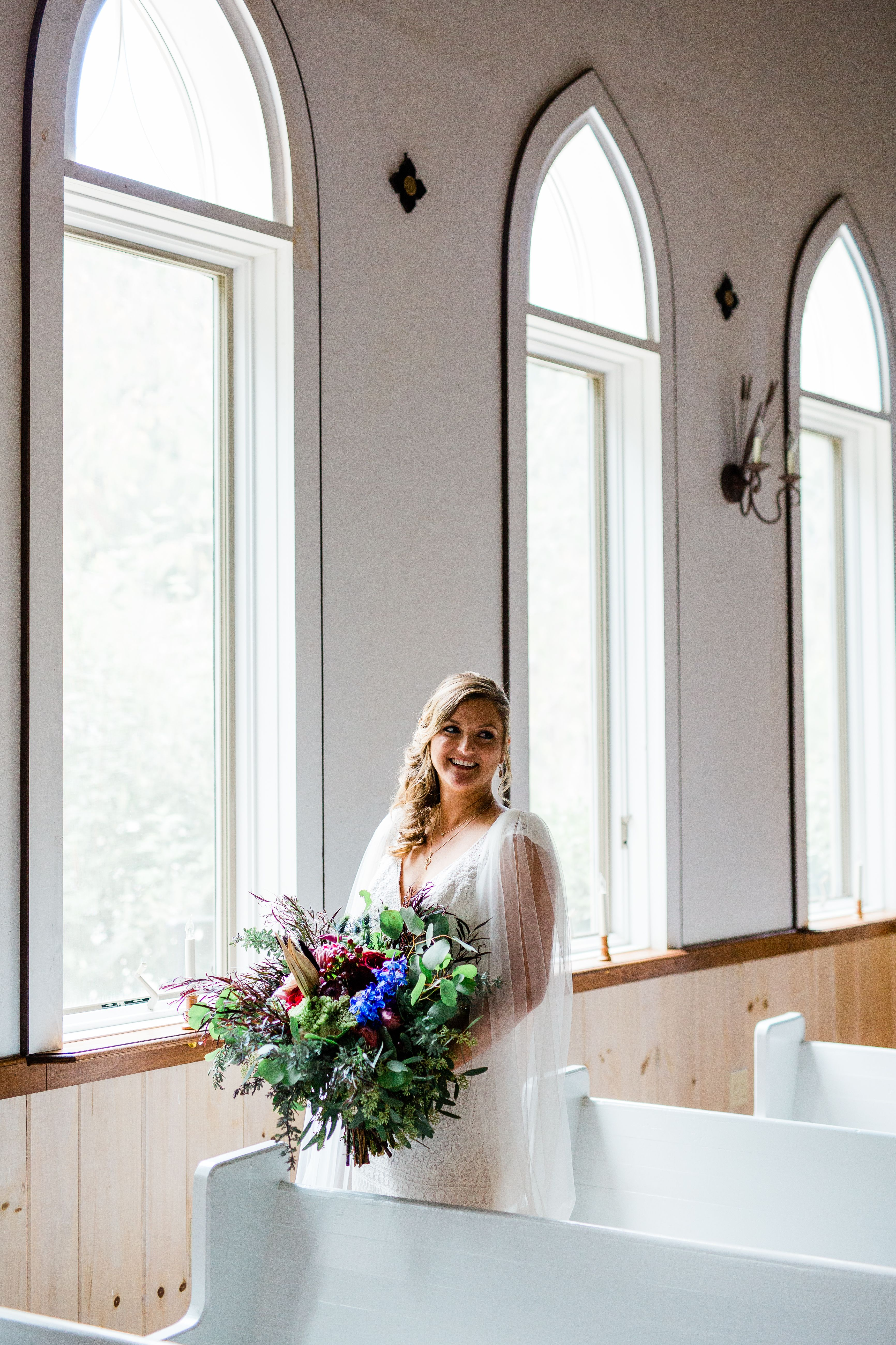 An indoor wedding chapel viewing the North Georgia ...