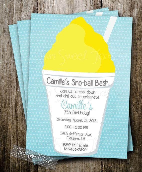 Snowball Invitation Sno Cone Ice Cream Treat Birthday Favor Pool New Orleans Waterslide Treats Sweet Ball Digital Printable Diy