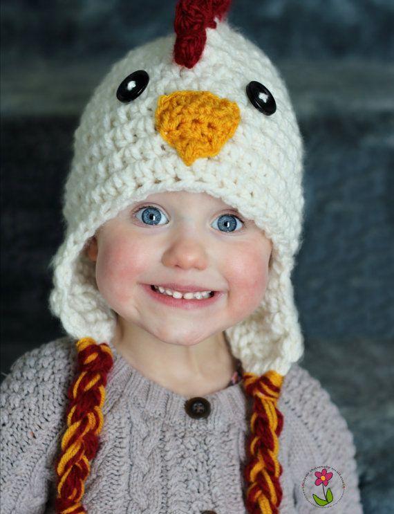 Chicken Hat PDF Crochet Pattern photo prop winter hat by thymeline 569d0c46125