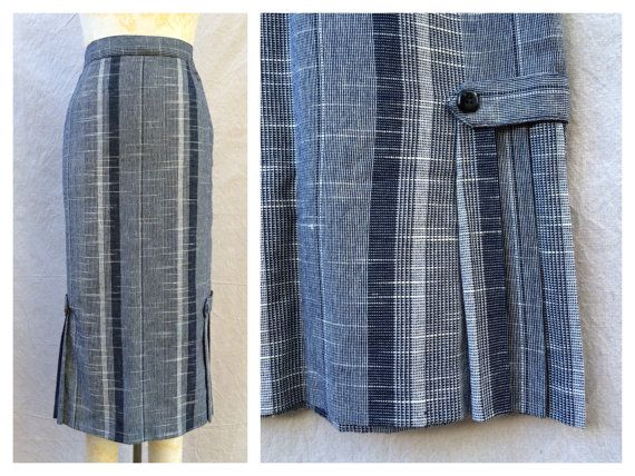 vintage pencil skirt stripe skirt navy blue and white
