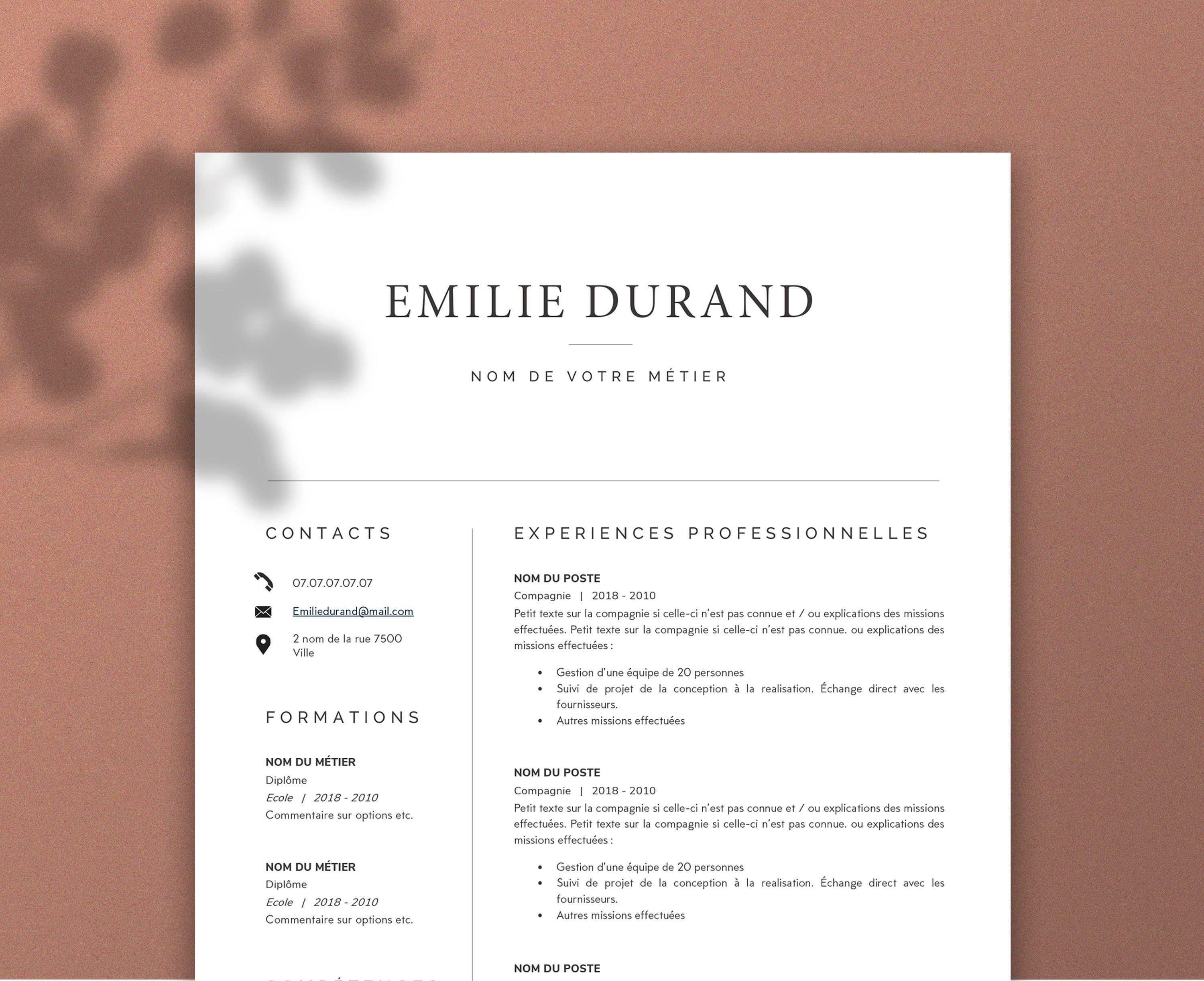Modèle de CV Design, Modern, Lettre de motivation, MS Word
