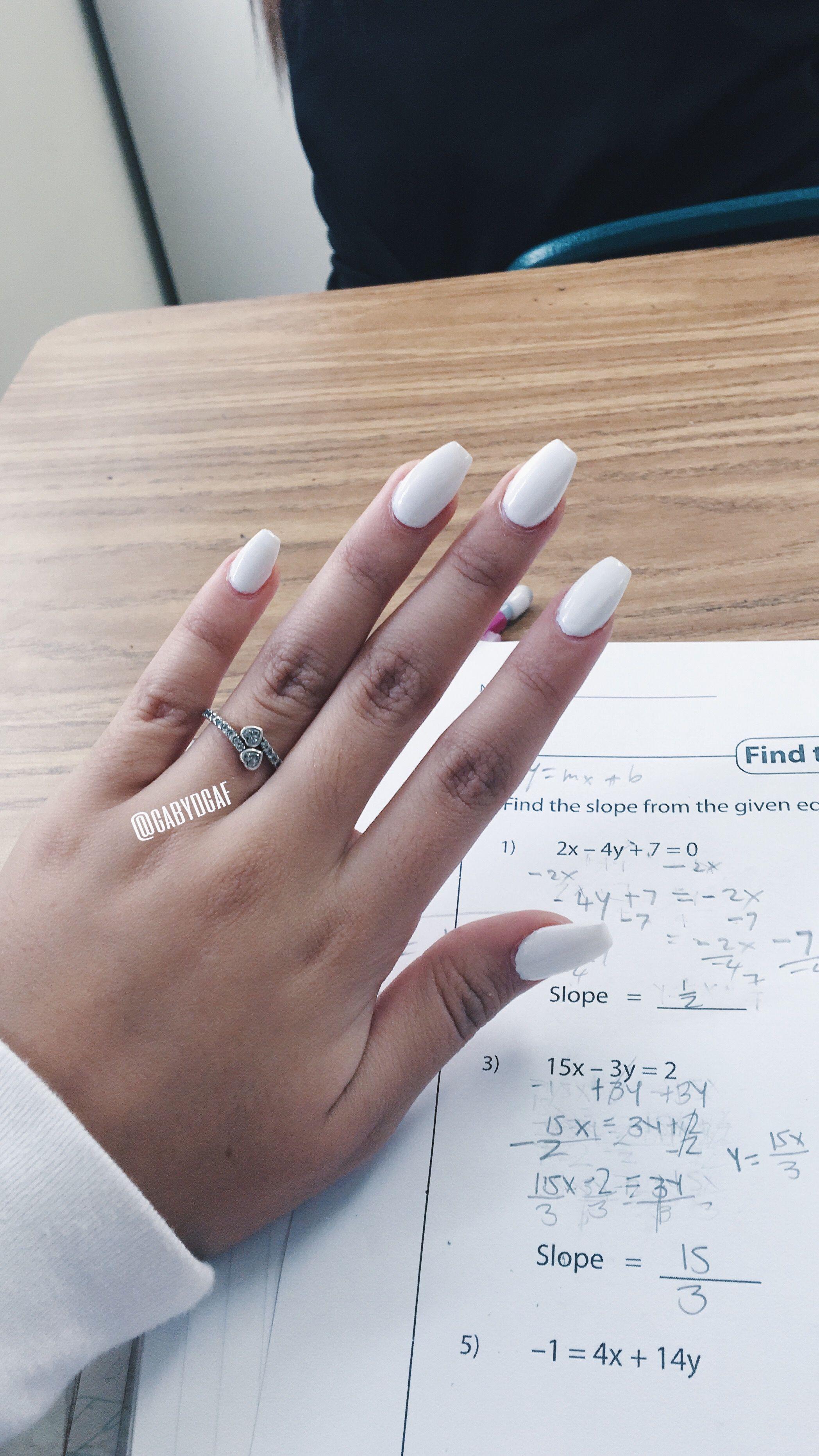 Coffin White Short Acrylic Nails