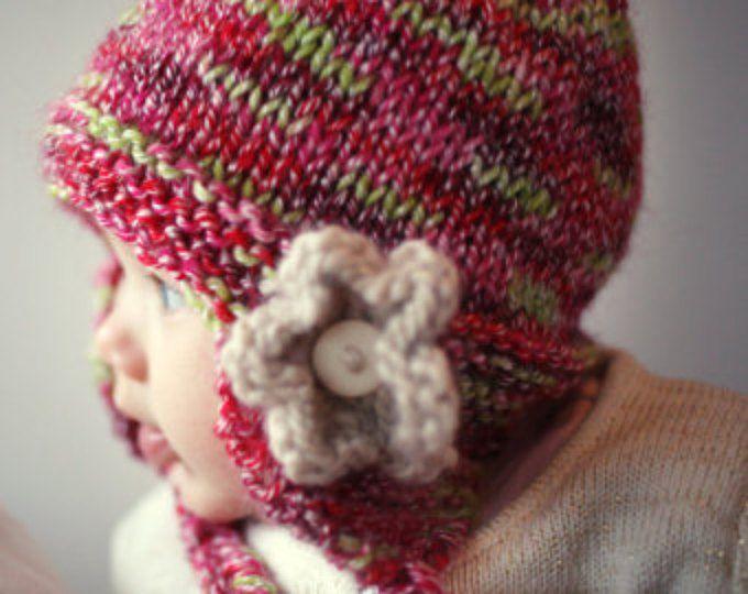 Baby Hat Knitting Pattern Knit Earflap Hat Pdf Knitting Pattern