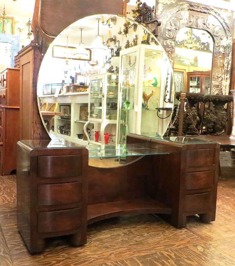 vintage vanity with round mirror. Art Deco Vanity with Round Mirror  vanity mirrors