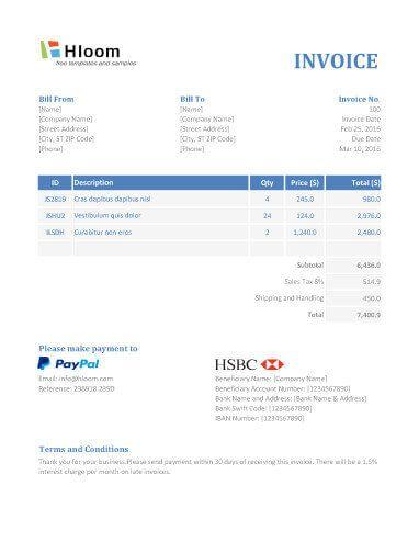 Free Invoice Templates 8+ Printable Docs, Xlsx  PDF invoice