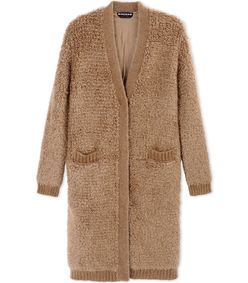 ShopBazaar Rochas Camel Wool-Blend Bouclé Coat MAIN