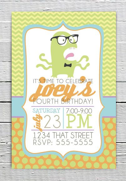 Coupon Code - REPIN10 for 10% off Hipster Green Monster Yellow Chevron Custom Birthday Party Printable Invitation Baby Boy Shower Invite Boy Birthday Supplies Blue polka dot $10.99