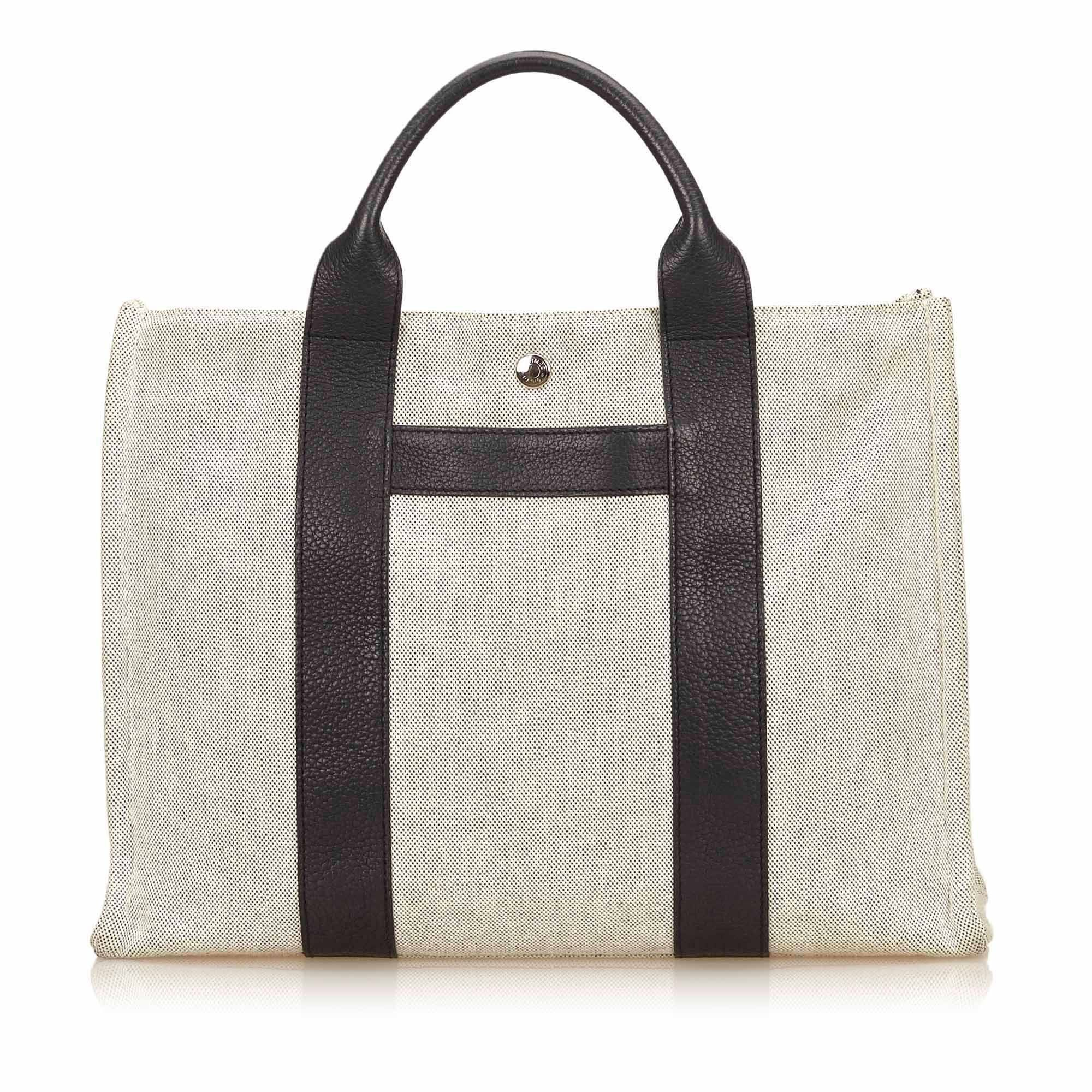 HERMES Natural Toile Canvas and Black Clemence Leather Sac Harnais MM Tote Bag