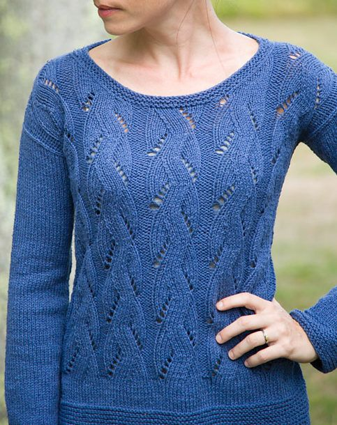 dbc1e5cbc Free Knitting Pattern for Springtime Pullover - Long-sleeved pullover  sweater features an all-over lace pattern. Sizes XS (S