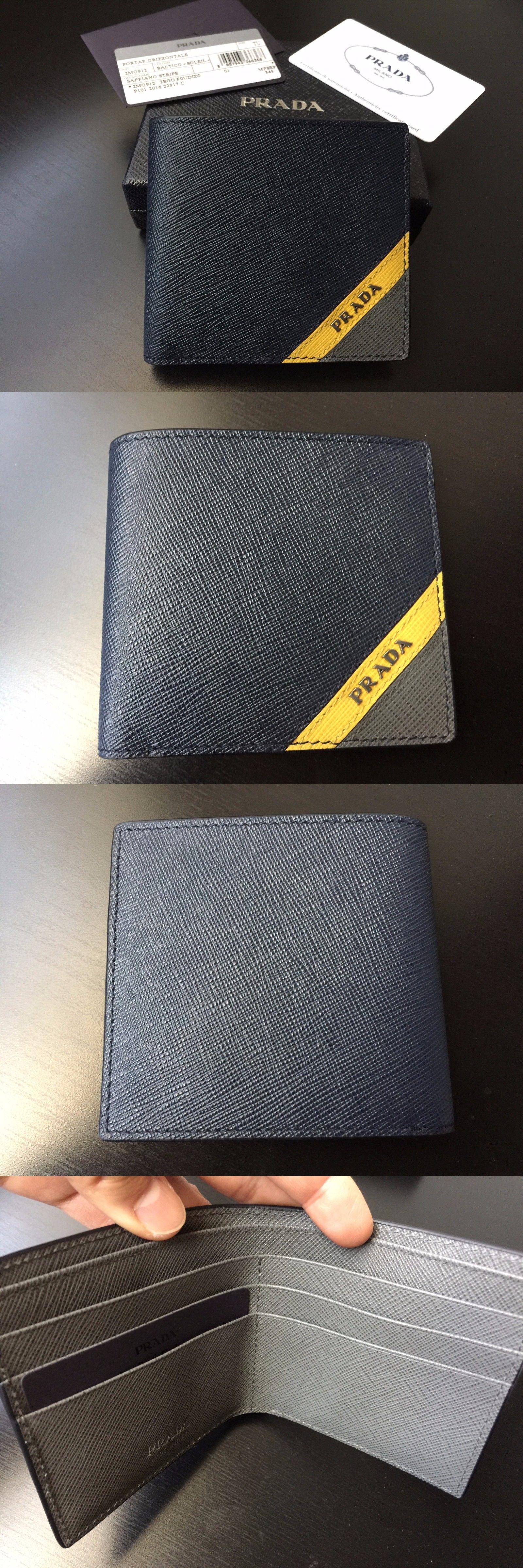3dc7e09fa933a0 ... order wallets 2996 new prada men s wallet saffiano tricolor stripe navy  yellow gray bifold bi