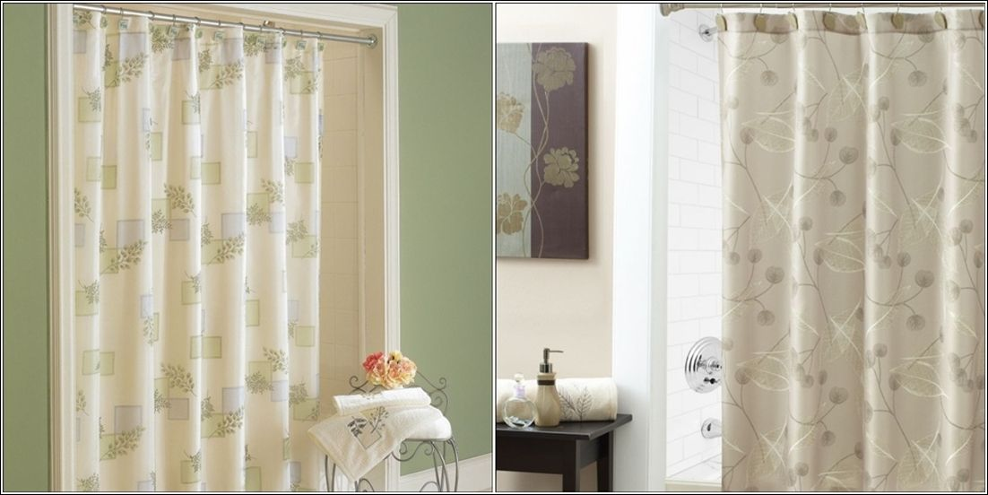 Croscill The First Is A Rain Shower Curtain With An Elegant Foliage Pattern Printed Over It Second One In Brownish Grey Colour Also Has Classy Print