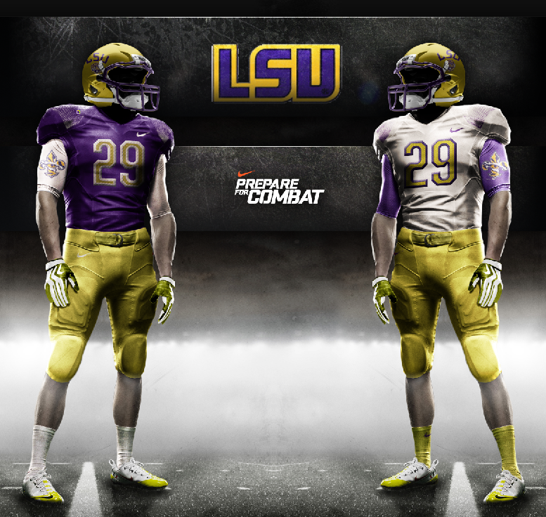 Run Up The Score Online Dynasty Nike Announces New Pro Combat Uniforms For Ruts3 Teams Lsu Football Combat Uniforms Lsu Uniforms