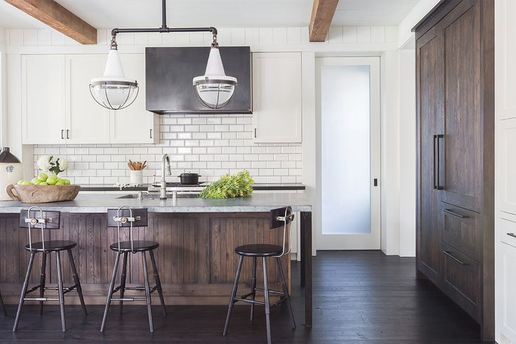 i really love the white cabinets with the dark wooden mix and dark floors white subway tile is very pretty 49 gorgeous modern farmhouse kitchens