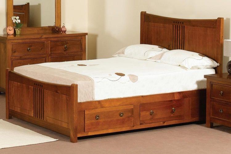 Lit avec rangements - 50 idées canon pour votre intérieur   Lit rangement, Cadre de lit en bois ...