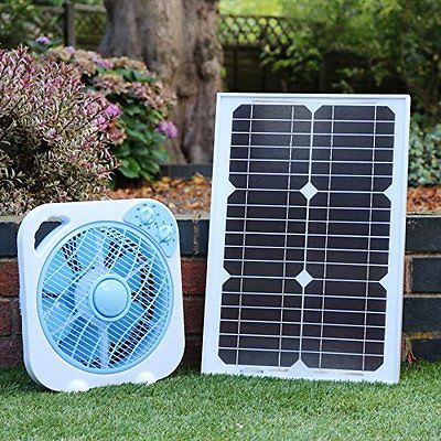 20w 12v Solar Powered Dc Fan With Battery Backup For Camping
