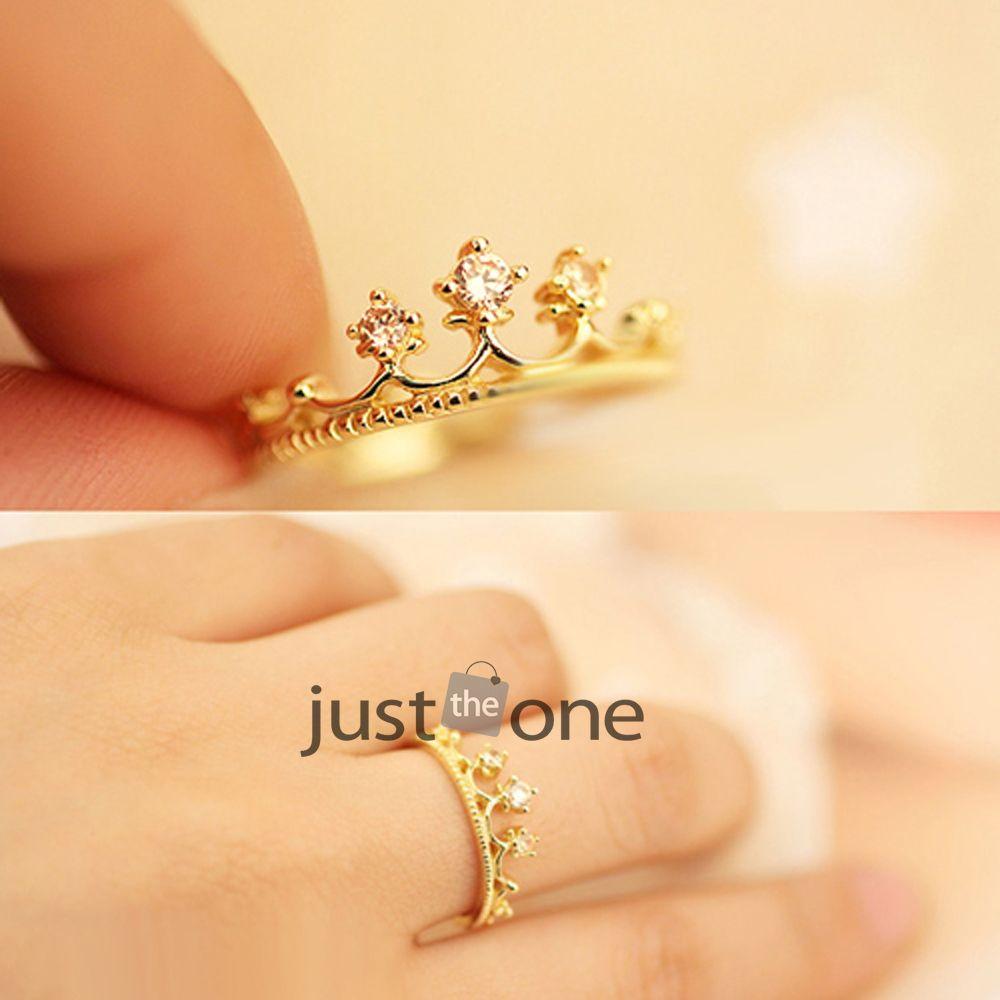 Fashion Shiny Rhinestones Crown Women Girls Ladies Finger Ring ...
