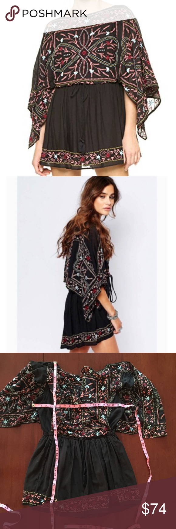 818c3824362 Free People Black Embroidered Frida Dress Small Self  52% rayon