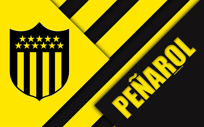 Download Wallpapers Club Atletico Penarol 4k Uruguayan Football Club Logo Material Design Yellow Black Abstraction Emblem Uruguayan Primera Division Mon Football Wallpaper Sports Wallpapers Montevideo