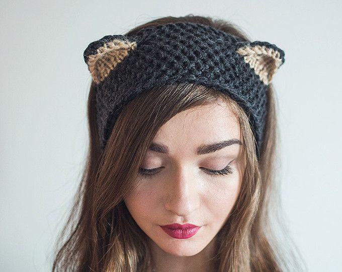 Headband Cat hat Fox Knitted winter Ear warmer wool Red Orange ... 66cdb3d5e7d