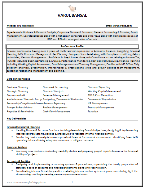 Accountant Resume Sample Good Cv Resume Sample For Experienced Chartered Accountant 1