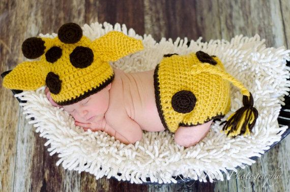 Crochet Animal Giraffe Hat and Diaper Cover Photography Prop