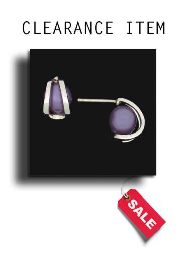 925 Silver Purple Simulated Pearl Caged Stud Earrings.
