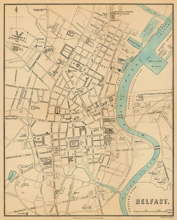 Belfast map - Fine giclee print - Old map of Belfast (Northern ...