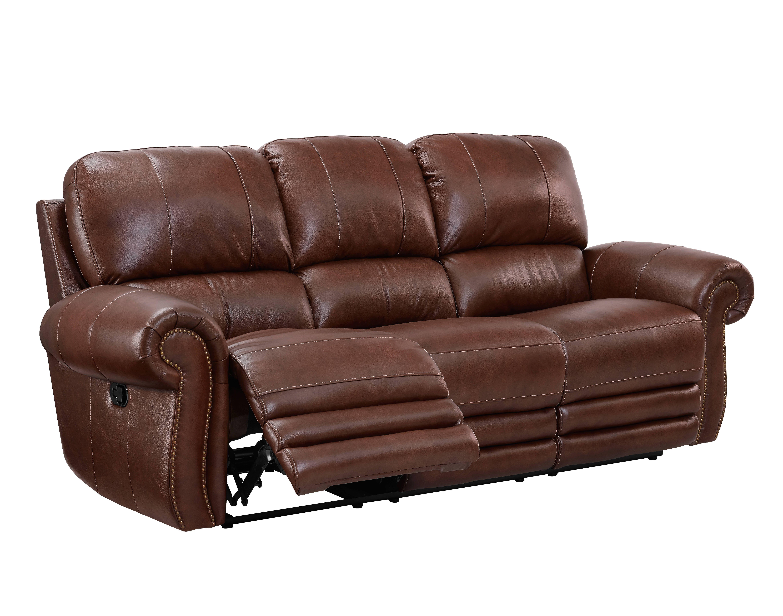 Rossi Light Brown Grain Leather Hardwood Plywood Dual Recliner Sofa