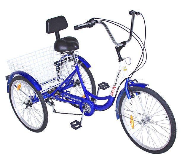 """Steel 3-Wheels Trike 24/"""" Adult Tricycle 7-Speed Shimano Men/'s//women/'s Bicycle"""