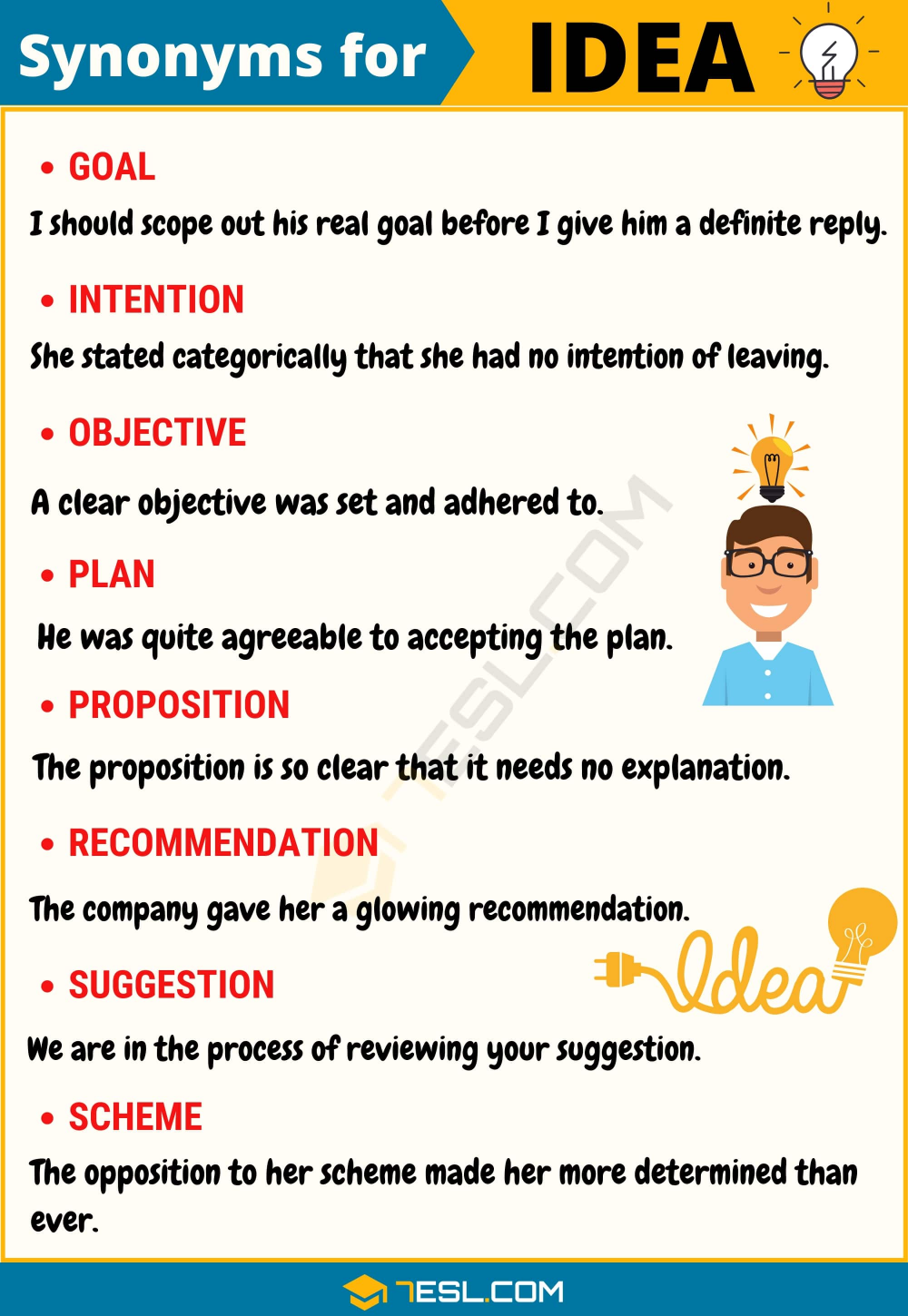 Another Word For Idea List Of 100 Synonyms For Idea 7esl In 2021 Learn English English Words Writing Words