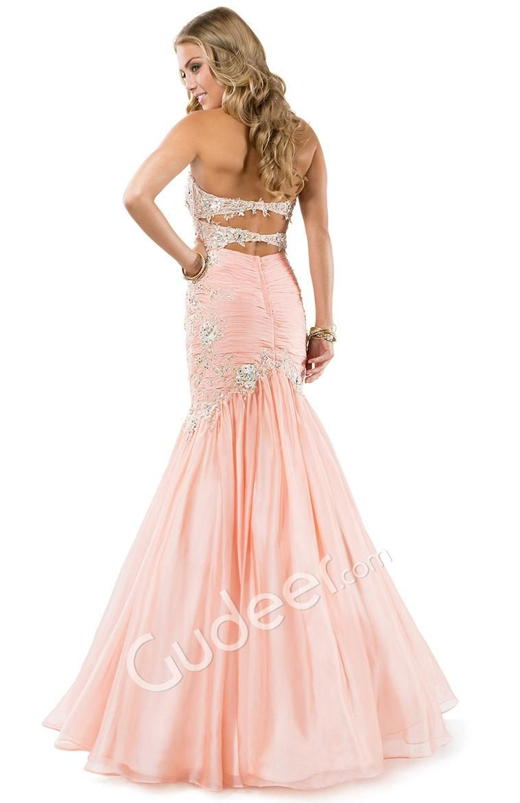 Prom Mermaid Strapless Lace Appliqued Pleated Chiffon Dress | Prom ...
