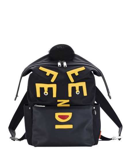 FENDI Vocabulary Monster Nylon   Leather Backpack, Black.  fendi  bags  fur   nylon  backpacks   bf8b5b87aa
