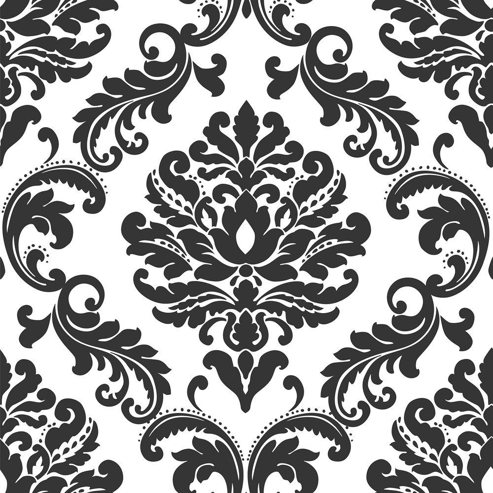 Nuwallpaper Ariel Black And White Damask Vinyl Strippable Wallpaper Covers 30 75 Sq Ft Nu1646 The Home Depot In 2021 Peel And Stick Wallpaper Damask Wallpaper Nuwallpaper