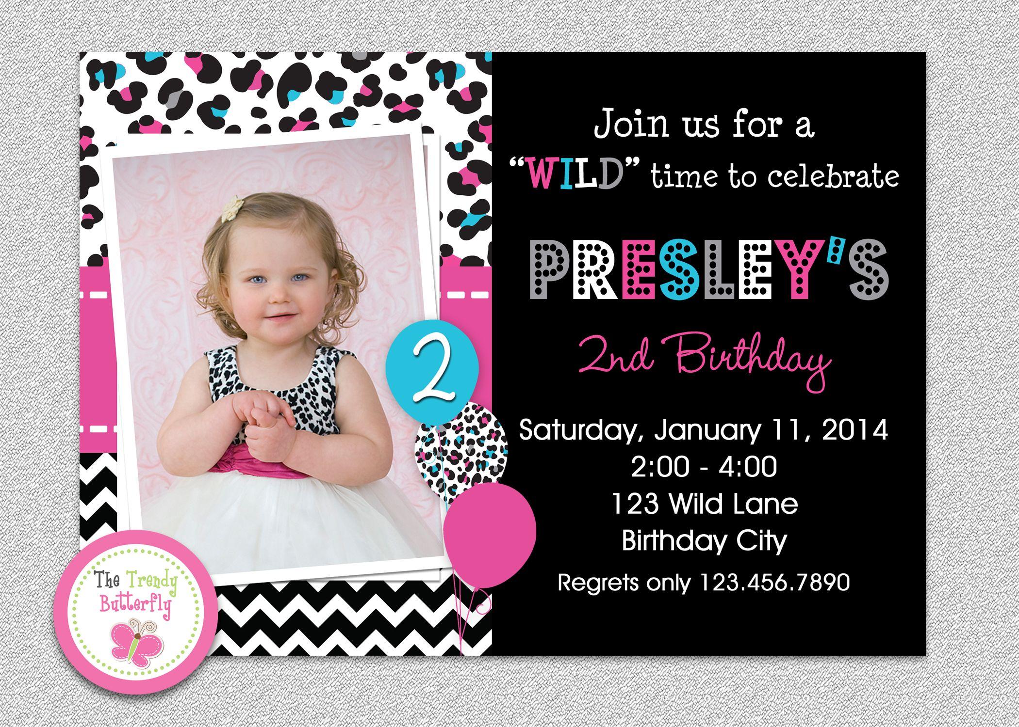 Leopard Birthday Party Invitations | Leopard birthday, Birthdays and ...