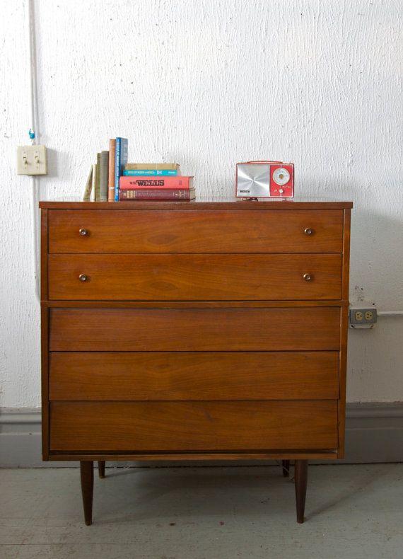 Mid Century 5 Drawer Tall Boy Dresser Gentlesmen S Chest By Harmony House 50s 60s