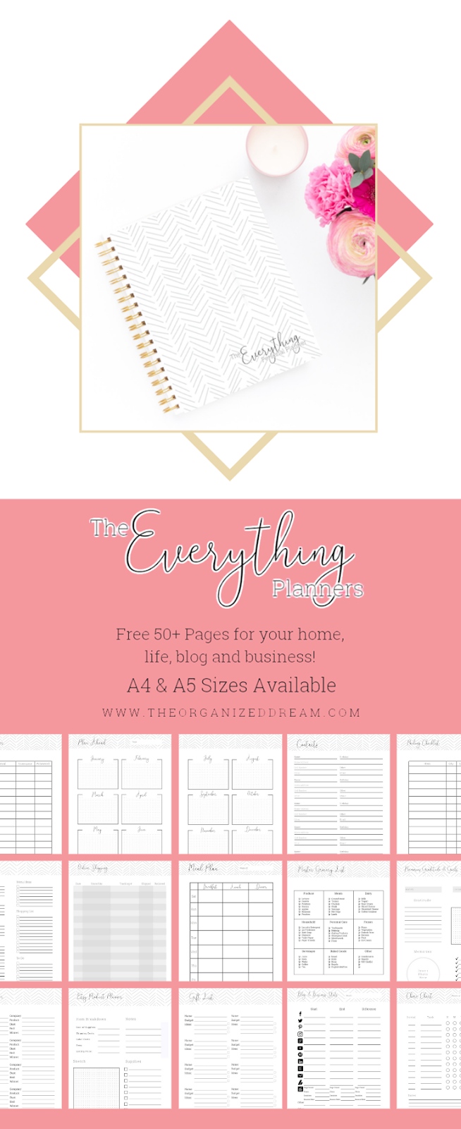 Free Planner Printable Pages - The All New Everything Planners featuring 50+ Pages! • The Organized Dream