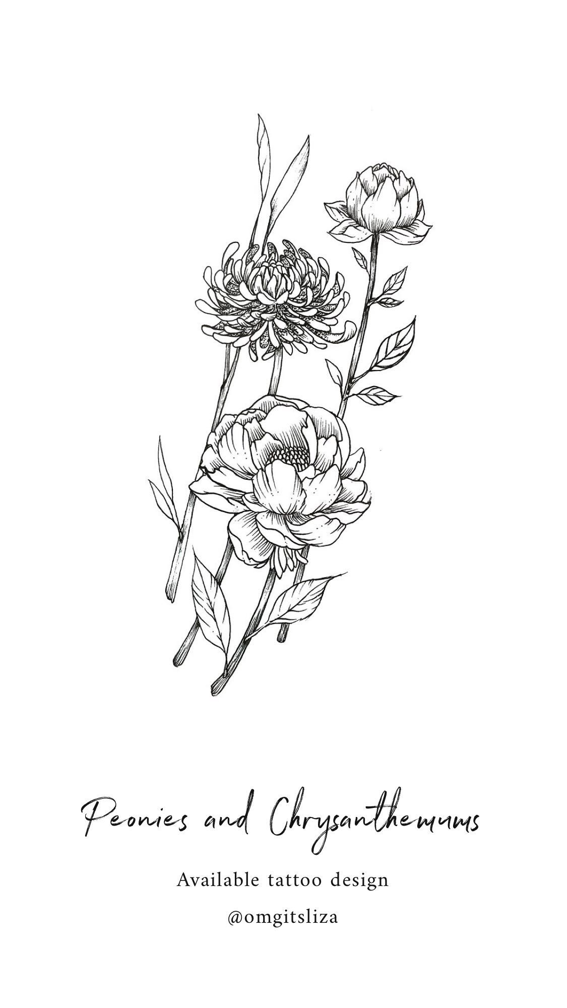 Peonies and Chrysanthemums Tattoo Design Illustration