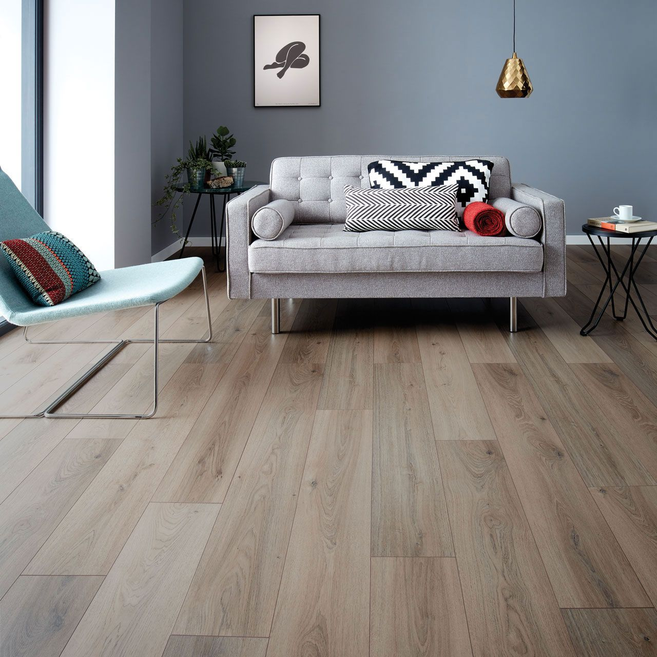 Wembury Nordic Oak Oak laminate flooring, Grey flooring
