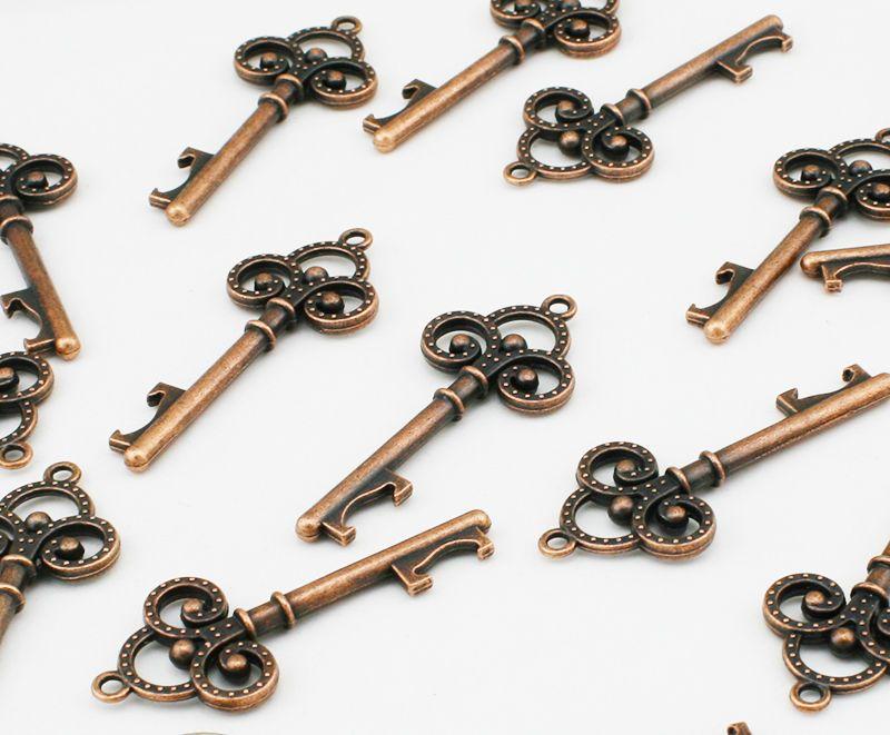 100 Vintage Skeleton Copper Key Bottle Opener wedding favors Bridal Shower Favor