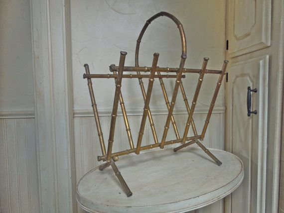 Vintage Brass Faux Bamboo Magazine Rack Brass by frenchtwine, $65.00