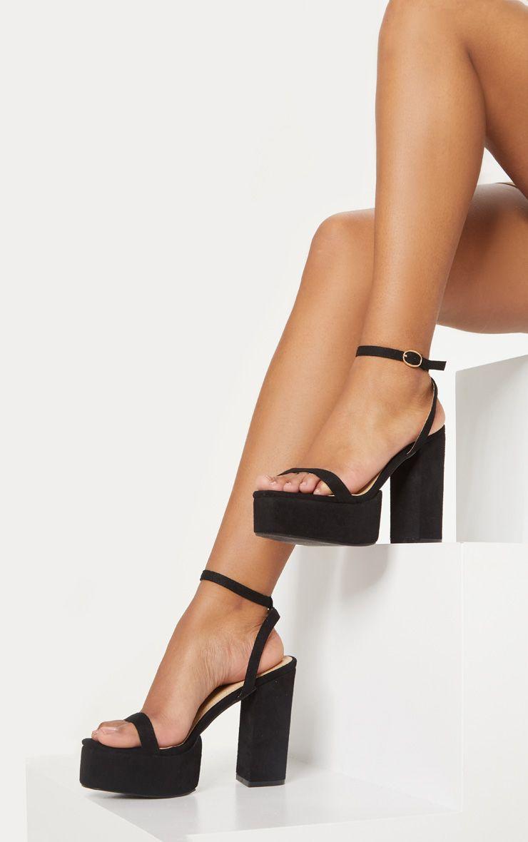 Black Square Toe Platform Sandal